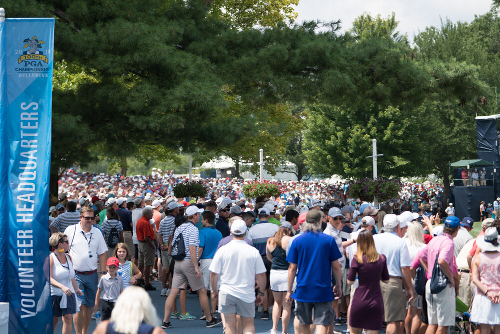 pectators during the first round of the 100th PGA Championship held at Bellerive Golf Club on August 09, 2018 in St. Louis, Missouri. (Photo by Montana Pritchard/PGA of America)