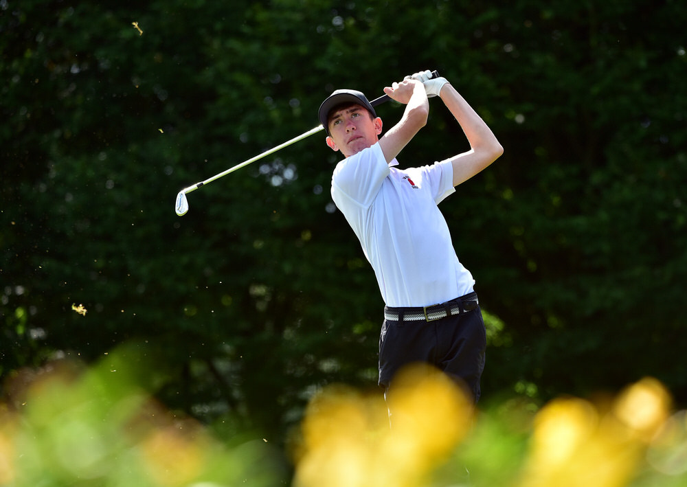 Tom McKibbin (Ulster) driving at the 16th tee during the opening day of the Boys Interprovincial Matches at Slieve Russell Golf Resort (24/07/2018). Picture by  Pat Cashman