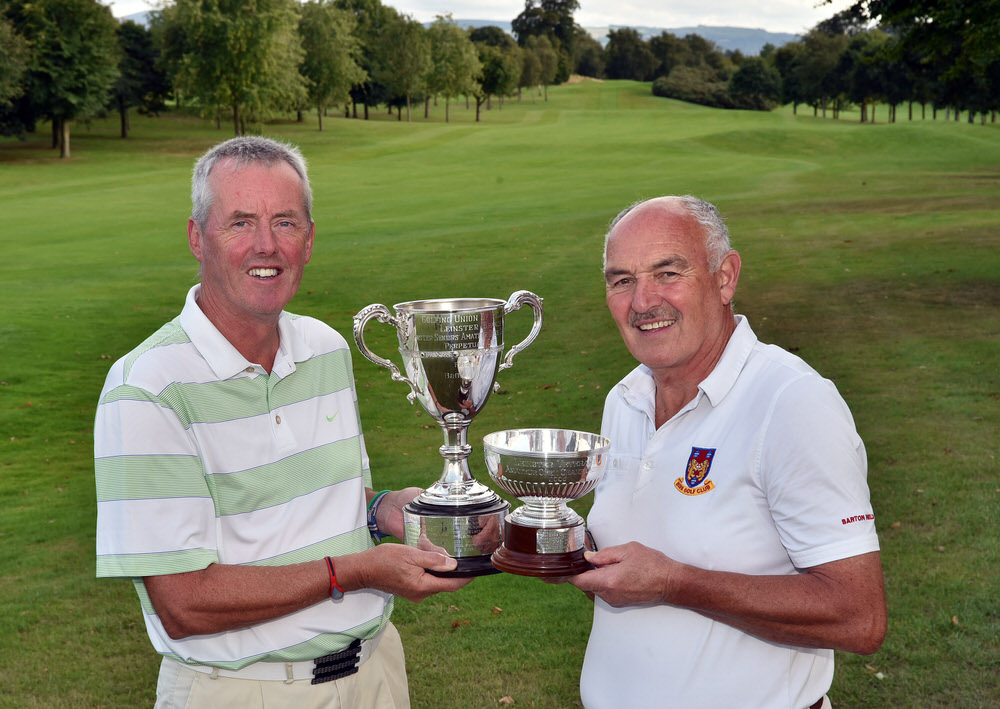 John Mitchell (Tramore) and Bill Donlon (Birr) major prizewinners at the 2018 Leinster Seniors Amateur Open Championship at Luttrellstown Golf Club today (22/08/2018). Picture by Pat Cashman