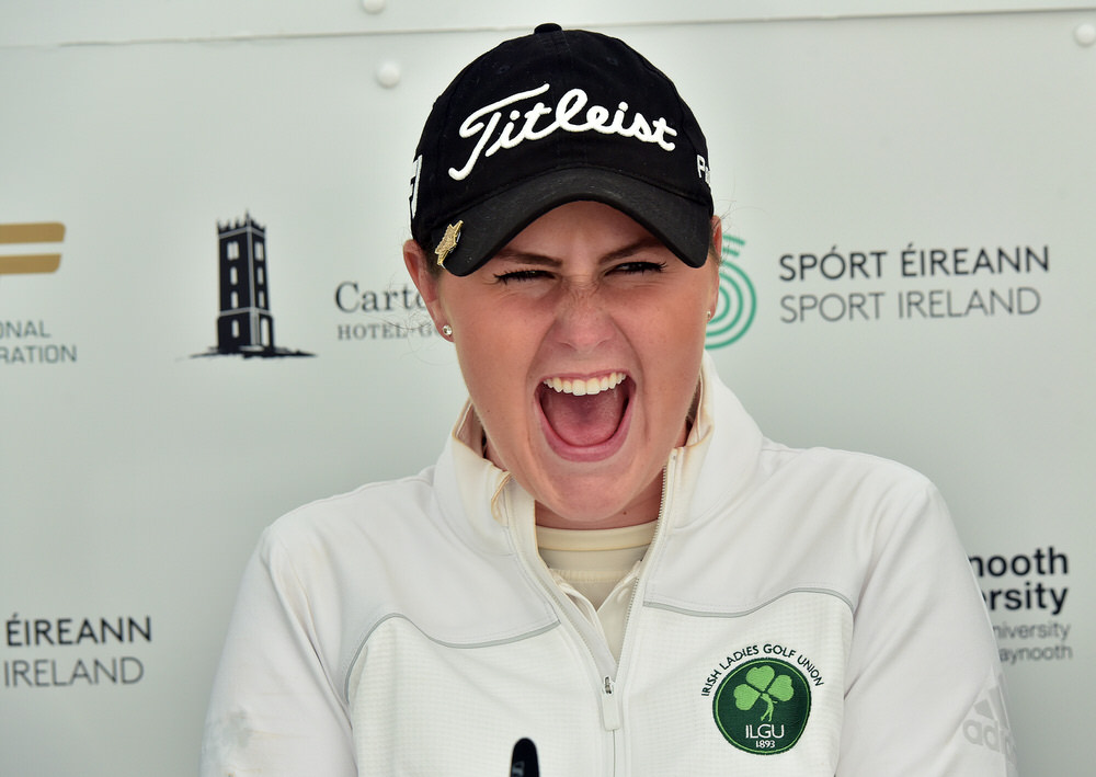 Olivia Mehaffey (Ireland) in jovial mood at the press conference after the first round of the 2018 World Amateur Team Championship (Esprito Santo Trophy) at Carton House Golf Resort, Maynooth, Co Kildare today (29/08/2018). Picture by  Pat Cashman