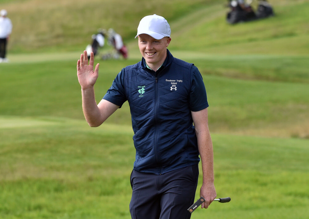Happiness is a long walk with a putter.Robin Dawson (Ireland) acknowledges the crowd on the 6th green after holing his 54-foot putt during the first round of the 2018 World Amateur Team Championship ( Eisenhower Trophy) at Carton House Golf Resort, Maynooth, Co Kildare (05/09/2018). Picture by  Pat Cashman
