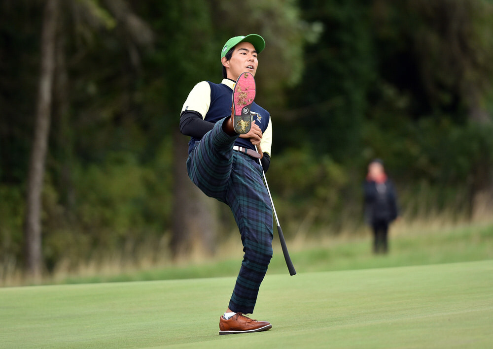 Justin Suh (USA) reacts to a missed putt on the 15th green during the third round of the 2018 World Amateur Team Championships (Eisenhower Trophy) at Carton House Golf Resort, Maynooth, Co Kildare (07/09/2018). Picture by Pat Cashman