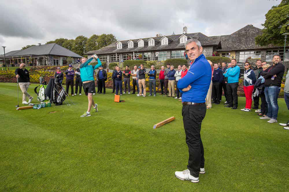 Luke Donnelly shows Paul McGinley his skills at the opening of the Paul McGinley Golf Academy at Mount Juliet. Picture: INPHO