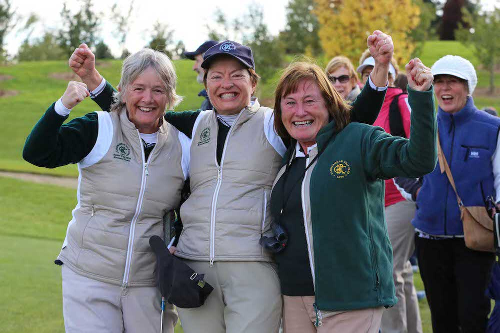 Pam Cassidy, Carol Loftus and Jane Jones as Rathfarnham GC win the Junior Cup at the AIG Ladies Cups and Shields All Ireland Finals at Knightsbrook Hotel and Golf Club Resort.  image by Jenny Matthews (www.cashmanphotography.ie)