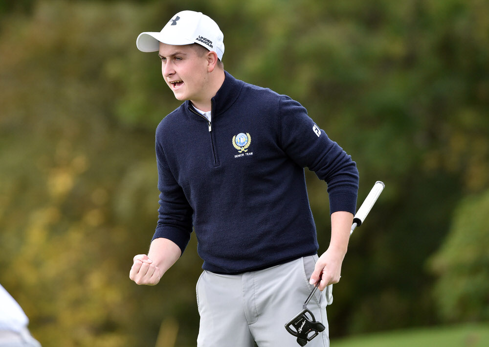 Rian Carvill (Warrenpoint) reacts to the winning putt on the 19th green in the semi final of the 2018 Junior Foursomes All Ireland Finals at Tramore Golf Club. Picture by  Pat Cashman