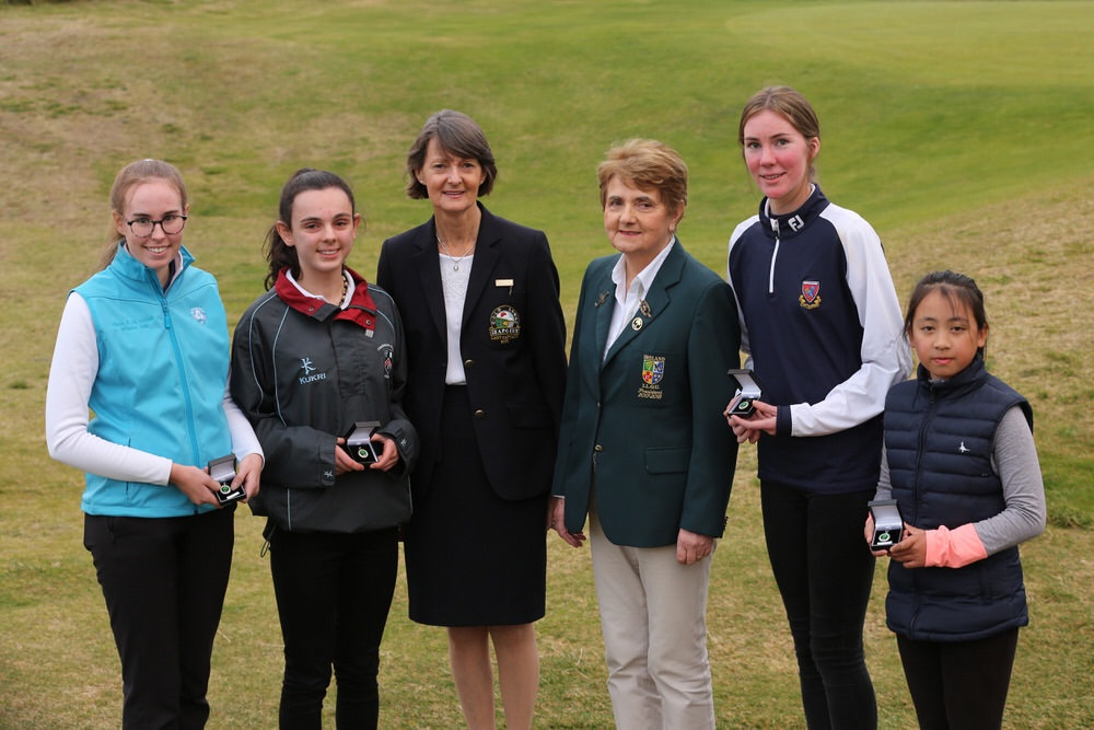 Best Gross, Olivia McChrystal (Holywood), Gold Medal Winner, Aoife Moore (Royal Belfast), Lady Captain Seapoint Golf Club, Mary Upton, ILGU President, Vonnie Noonan, Bronze Medal Winner, Julie McGrath (Milltown) and Silver Medal Winner, Jiaren Eina Pang (Portarlington) at the 2018 ILGU Junior Medal Final at Seapoint Golf Club. Picture: Jenny Matthews/ Cashman Photography