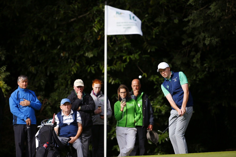 Robin Dawson plays his second shot at the 16th hole on the O'Meara Course during the second round of the 2018 World Amateur Team at Carton House. (Copyright USGA/Steven Gibbons)