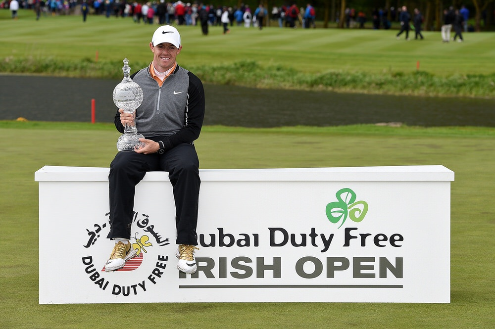 Rory Mcilroy with the 2016 Dubai Duty Free Irish Open. Photo by Ross Kinnaird/Getty Images