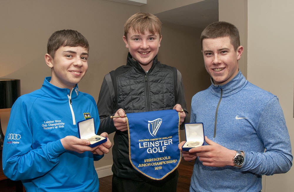 The winners from Naas CBS, Andrew Curran, Darragh Behan and Eoin Freeman. Photo: Ronan Quinlan/ www.cashmanphotography.ie