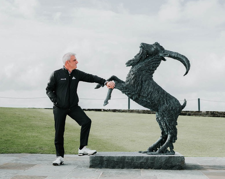 Paul McGinley with the goat statue at Lahinch. Picture: Brian Arthur