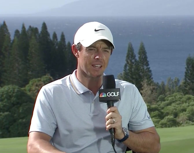 Rory McIlroy speaking to Golf Channel after his third round 68 left him three strokes behind Gary Woodland heading into the final round of the Sentry Tournament of Champions at Kapalua
