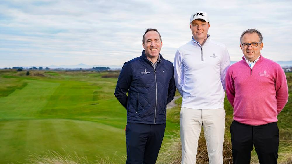 Robin Dawson (centre) with Conor Russell (PGA professional) and Barry O'Connor (Resort Director) at Portmarnock Hotel & Golf Links