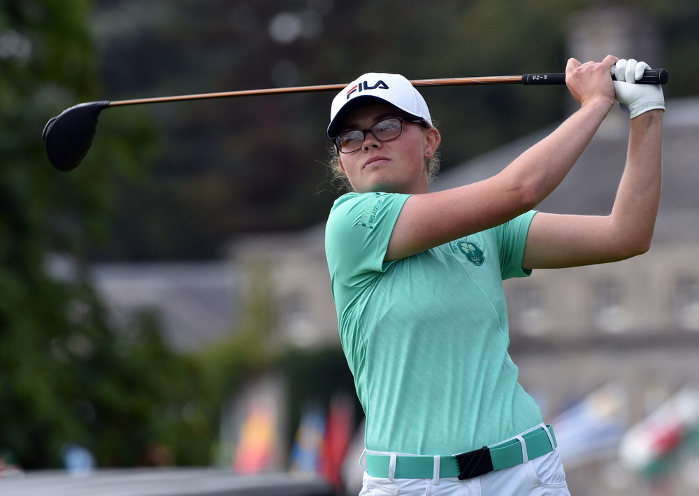 Annabel Wilson (Ireland) driving at the 1st tee in the final round of the 2018 World Amateur Team Championship (Esprito Santo Trophy) at Carton House  (01/09/2018). Picture by  Pat Cashman