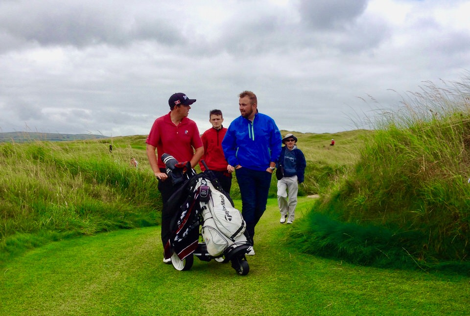 Shane Lowry supporting his brother Alan (left) during his run to the last 16 in the 2014 South of Ireland Amateur Championship at Lahinch