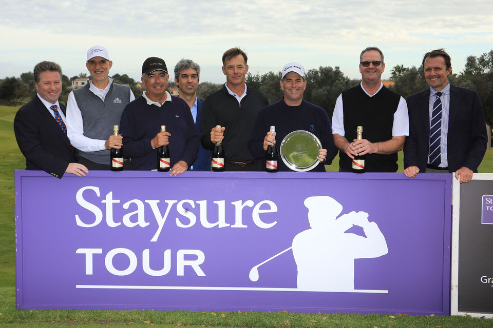 [L-R] Julian Kearney, CEO of Staysure, André Bossert, José Manuel Carriles, Rui Gago, Director of Golf, Pestana Golf Resort, Dan Olsen, Tim Thelen, Stuart Little and David MacLaren, Deputy Chief Operating Officer of the European Tour. Picture: Getty Images