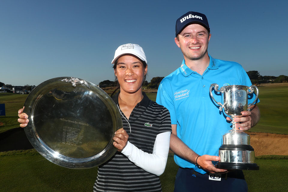 David Law and Celine Boutier triumphed at the ISPS Handa Vic Open. Picture: Getty Images