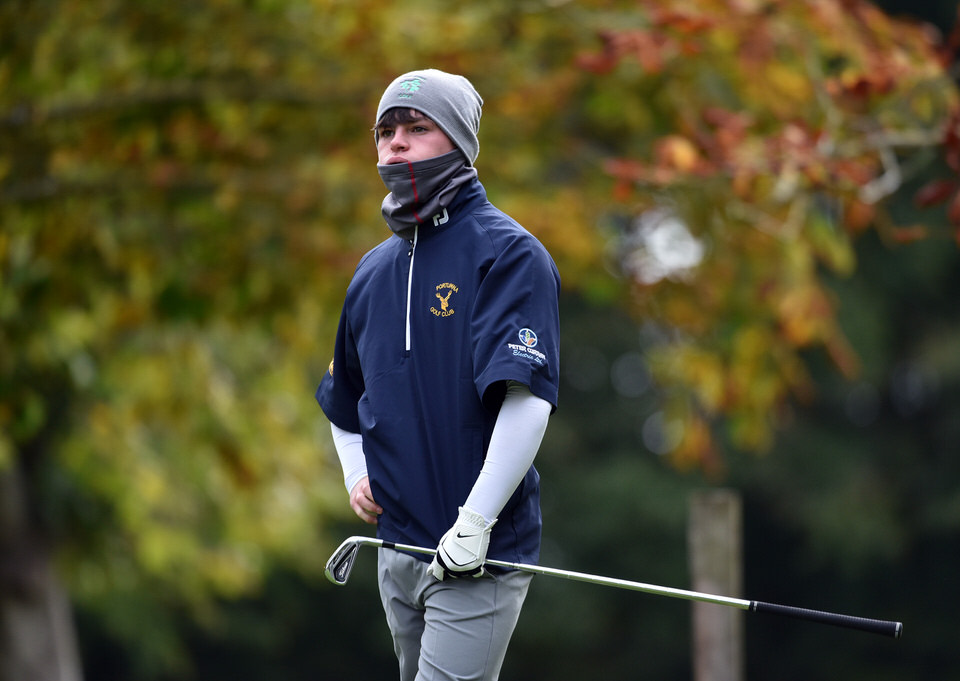 Sam Murphy (Portumna) watching the flight of his ball on the 11th tee in the AIG Junior Cup Final at Thurles Golf Club. (07/10/2018). Picture by  Pat Cashman