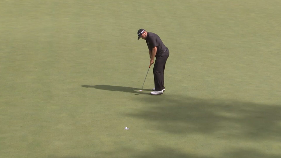 Shane Lowry birdies the 16th in the second round of the Masters Tournament