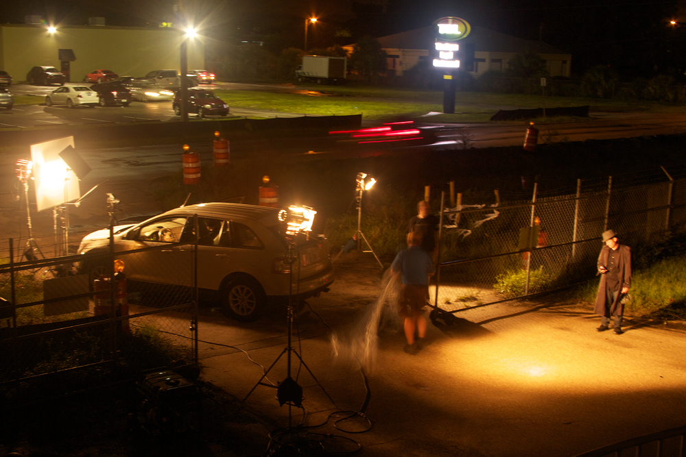 The lighting setup with the original car.