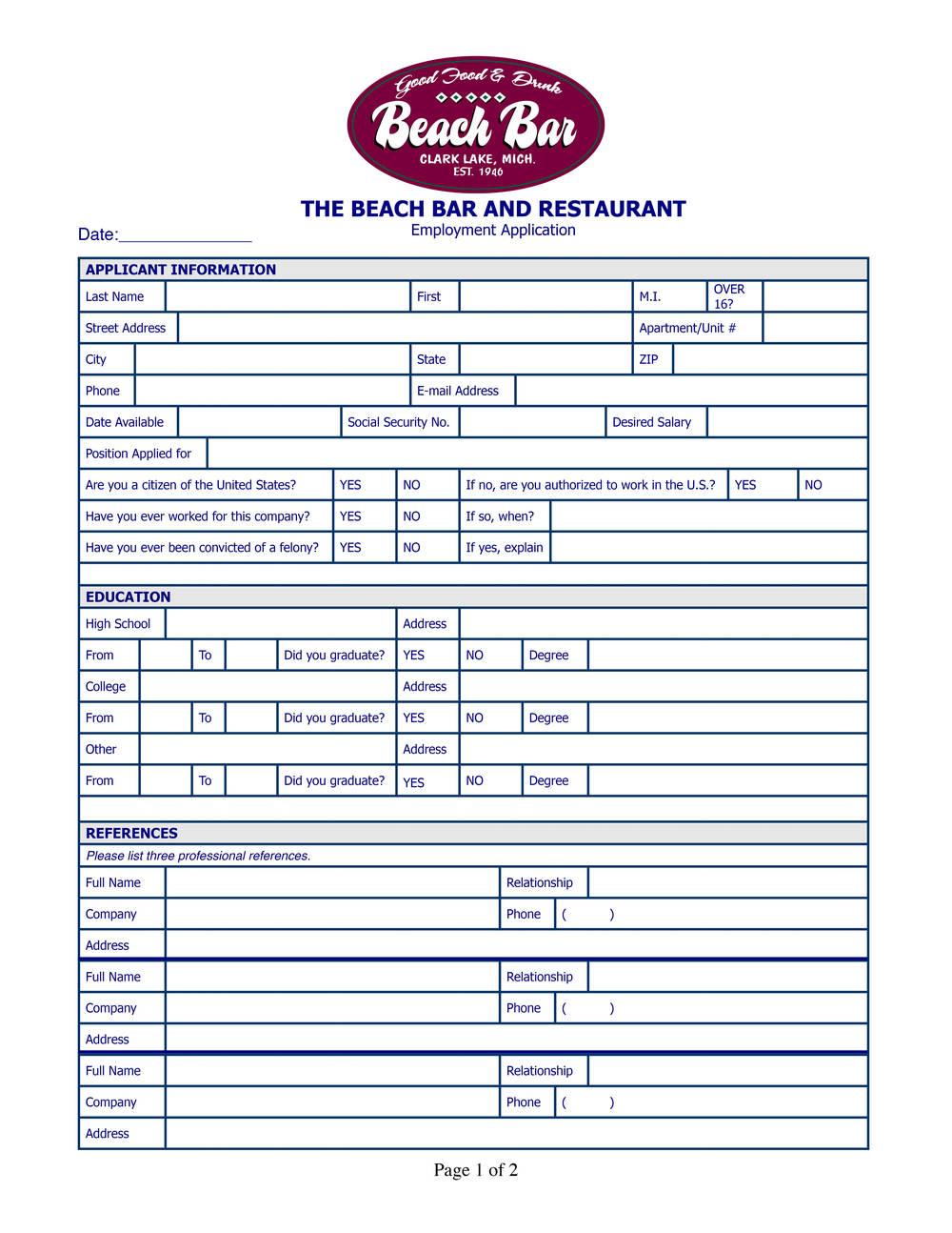 contact us employment beach bar restaurant
