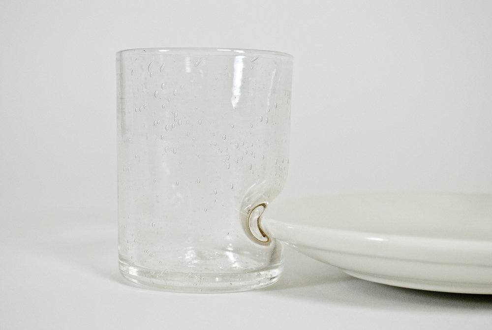The final cup piece was hand blown.