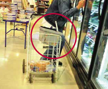 To allow easier access, people would place the store's basket on top of their personal cart.