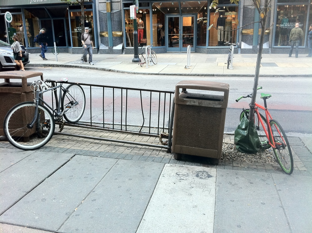 Even with a fully open bike rack, the young trees are still subject to bike locking.