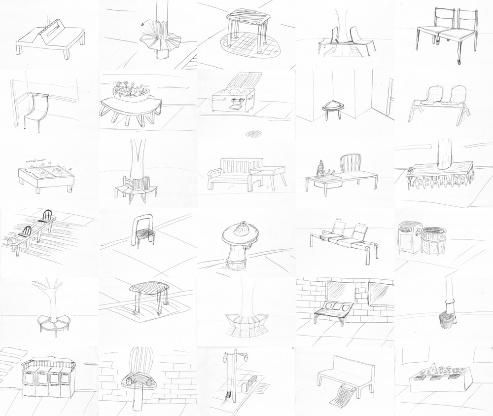 A collection of sketches to understand our intent.     © Tyler Scholl, Kuzey Taran, Mark Scafini