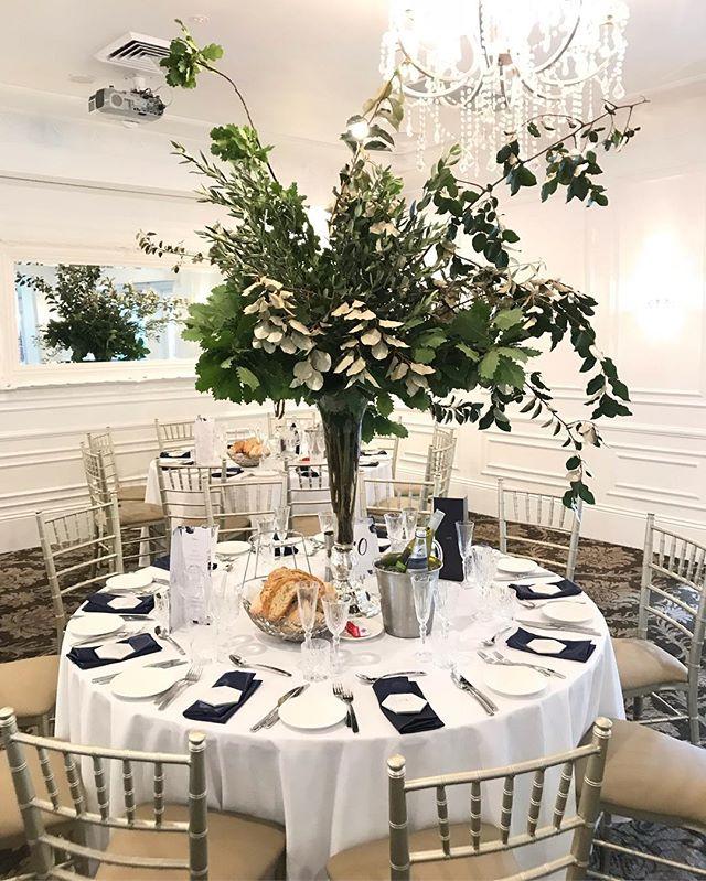 Oh George | She just wanted leaves and leaves she got! 🍃 #weepingmagnolia #leaves #floral #tablecentre #sydneyflorist #vase #wedding #oatlandshouse