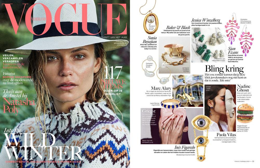 Guppy Door Knocker Earrings ,  Covalent Bracelet and  Covalent Earrings in  Vogue Nederland   (Nov 2017 Issue)