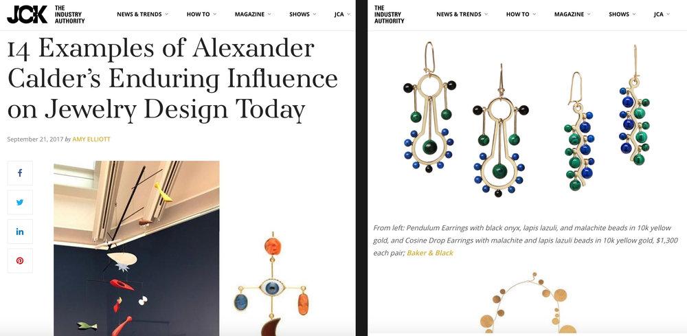Pendulum Earrings and  Cosine Earrings  on  jckonline.com   (Sept 2017)