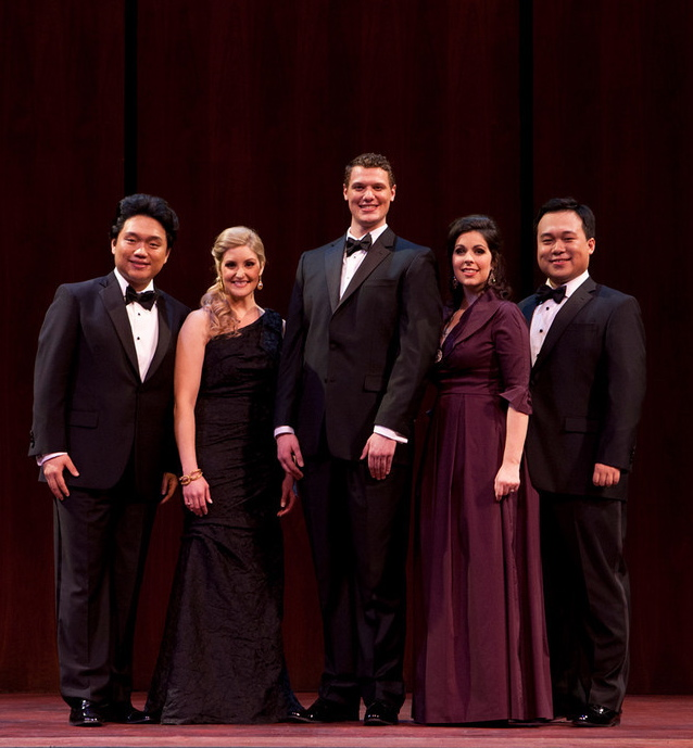 The winners of the 2014 Metropolitan Opera National Council Auditions, from left to right: Yi Li (tenor), Julie Adams (soprano), Patrick Guetti (bass), Amanda Woodbury (soprano), and Ao Li (bass-baritone). — Photo: Fay Fox