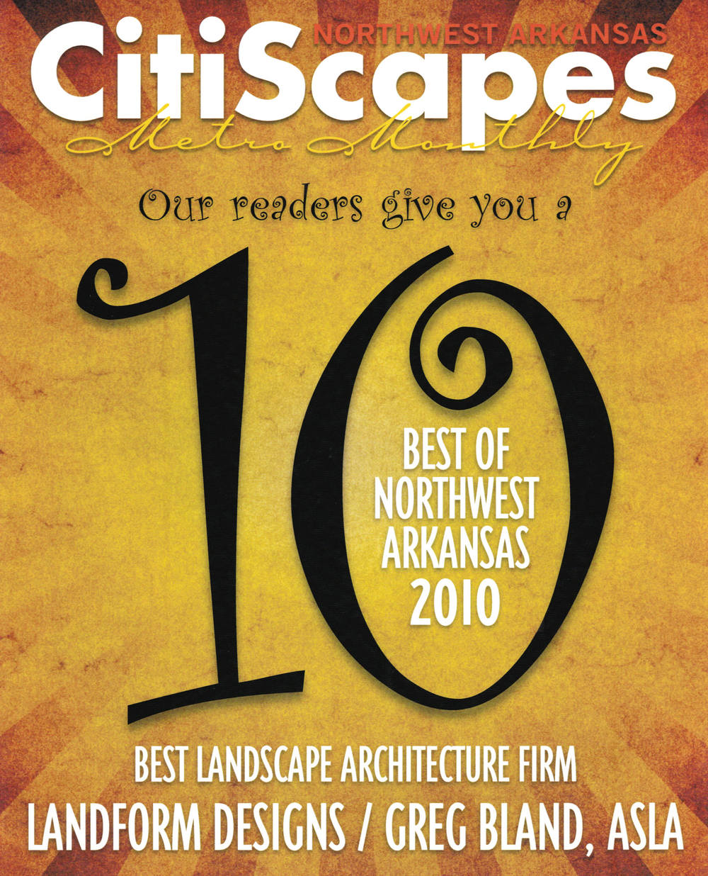 Citiscapes Metro Monthly - Best Landscape Architecture Firm 2010