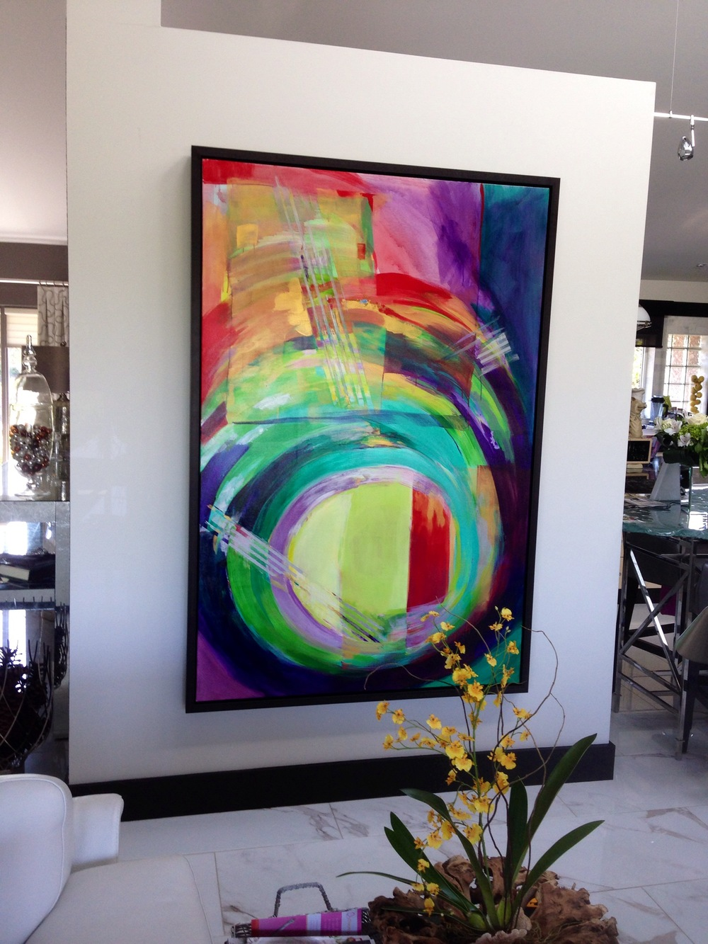 """'""""kati is an incredibly talented artist and highly professional. she responded to all of our needs while creating this custom piece...just for our space...."""" jOAN & mEL, CAMBRIDGE, ON"""