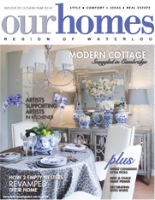 """Interview with Kati Bujna, Canadian artist, Cambridge, Ontario in """"Our Homes"""" Magazine."""