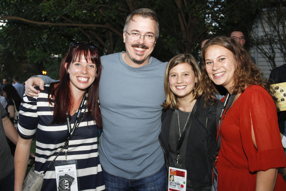 The ATX Co-Founders Caitlin McFarland & Emily Gipson + Creative Exec Emily Moss Wilson with BREAKING BAD creator Vince Gilligan. (photo by Jack Plunkett)