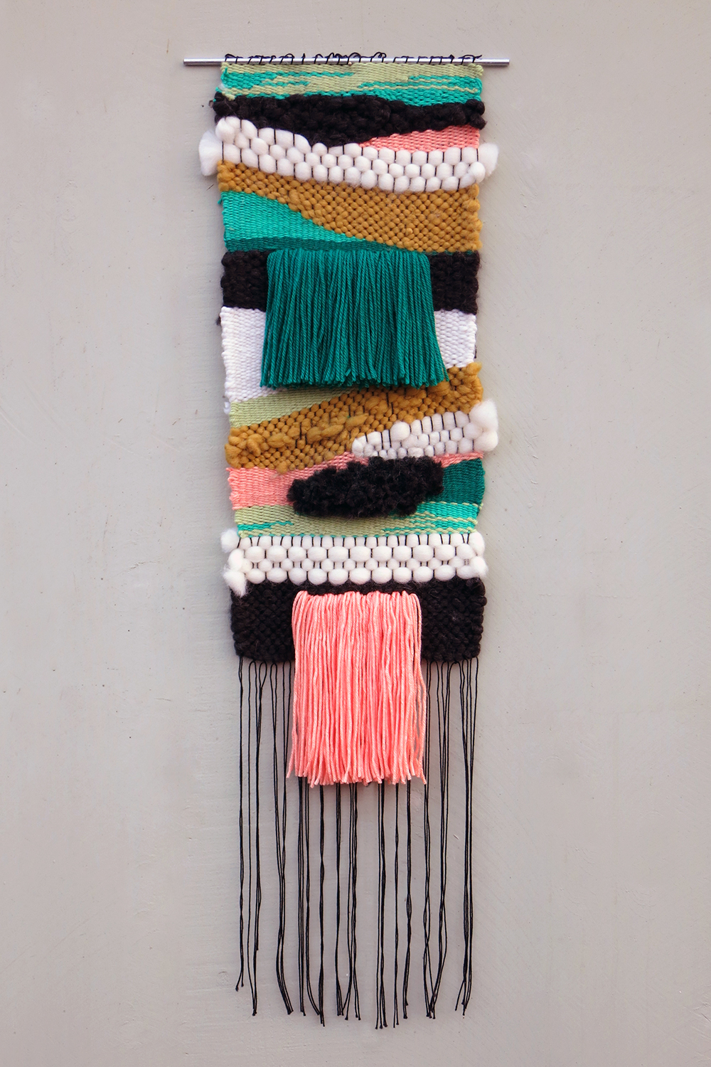 "Kaaterskill Falls / 2014     12"" x 36""    Wool, Cotton, Acrylic"