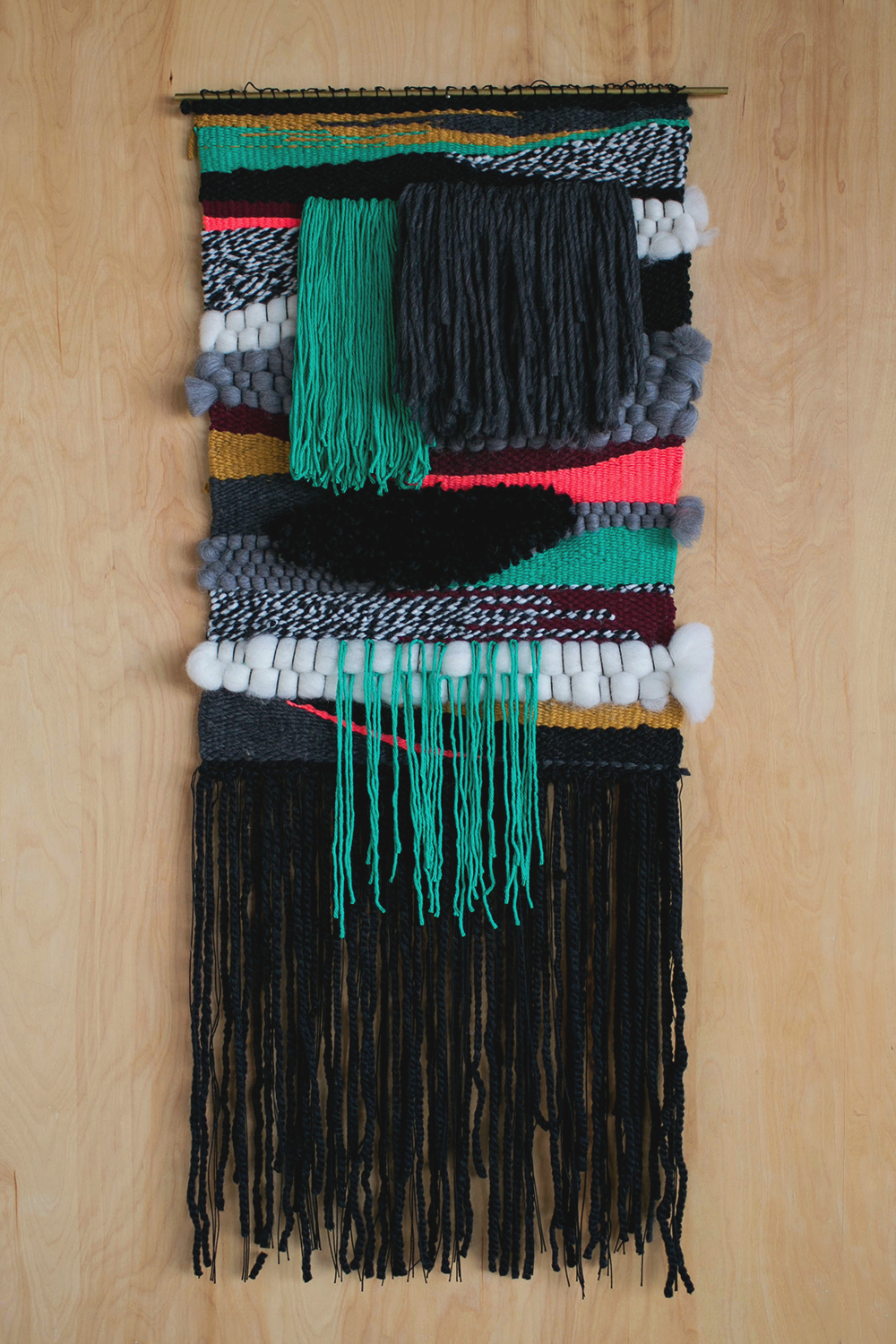 """Jessen / 2014 18"""" x 40"""" Wool, Cotton, Acrylic Private Commission"""