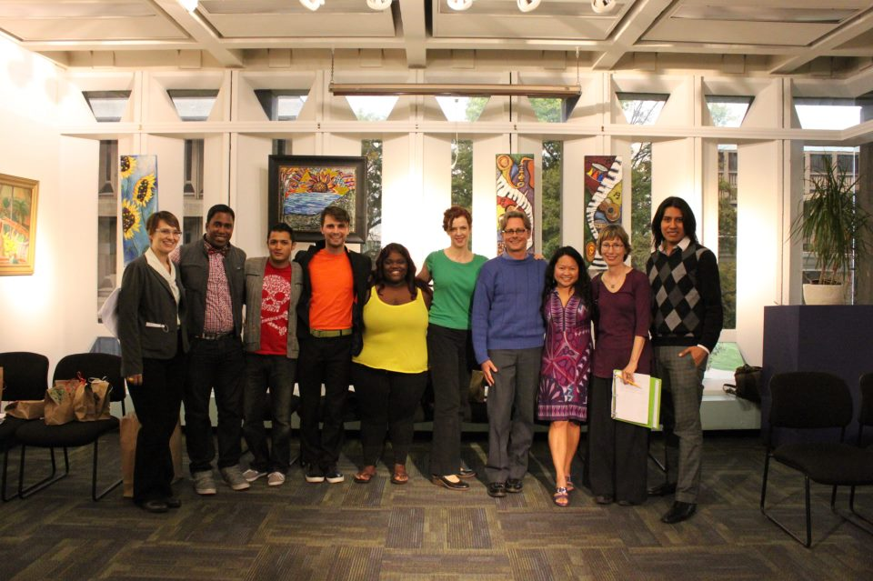 UIC cast photo for the original staged reading.    Megan Carney, Lawrence Carter, Max Demian, Jonathan Mayo, Kayla Pulley, Meg Elliott, Brenden Kelly, Jenny Korn, Liz Cloud, Moises Villada.