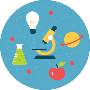 This is a cartoon photo of some science equipment. (i.e. microscope, flask, planet, atom)