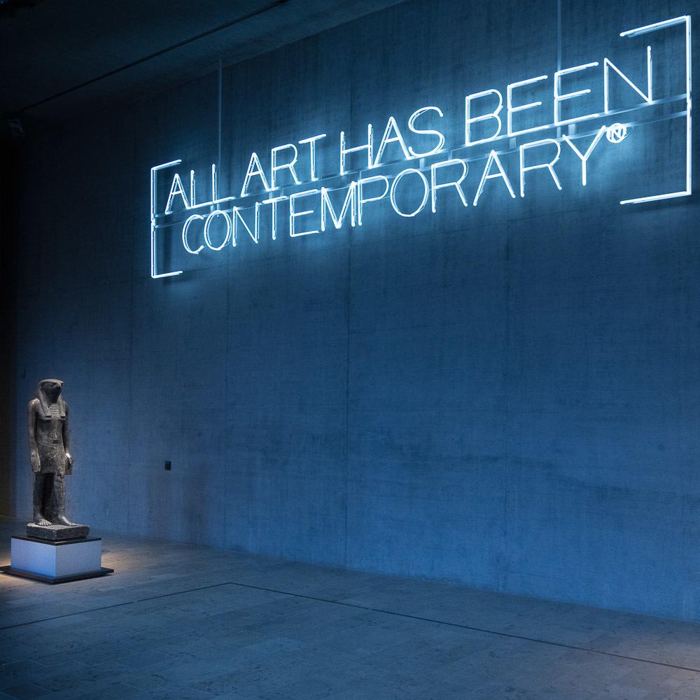 All Art has been contemporary. Neon work by Maurizio Nannucci. Staatliches Museum Ägyptischer Kunst München (State Museum of Egyptian Art in Munich)