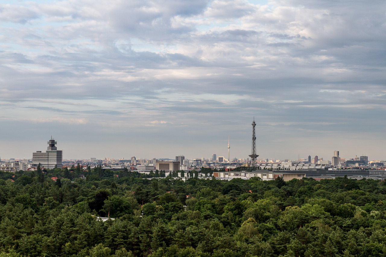 Skyline of Berlin from Kite Hill. Der Drachenberg  Berlin seen from its western man made hills (World War II rubble dumps)