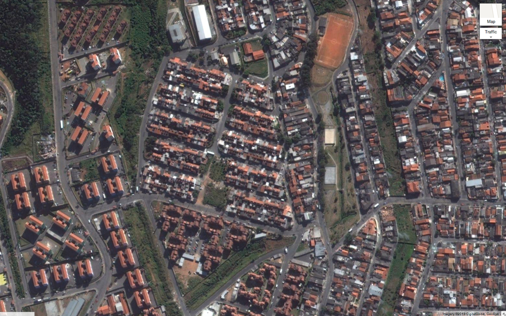 "Aerial view of Self-built ""Mutirão"" housing."