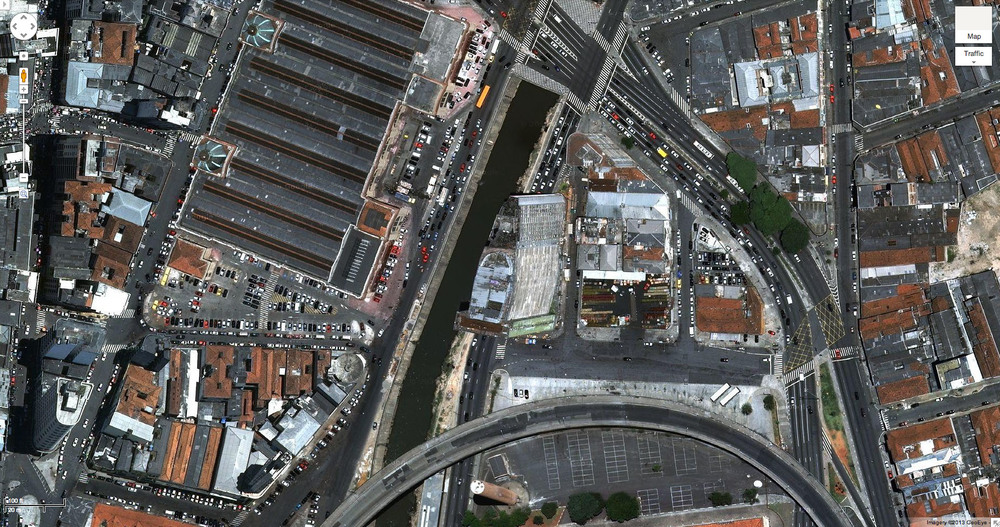 The São Vito tower demolished in 2010 can still be see in this Google maps aerial view.