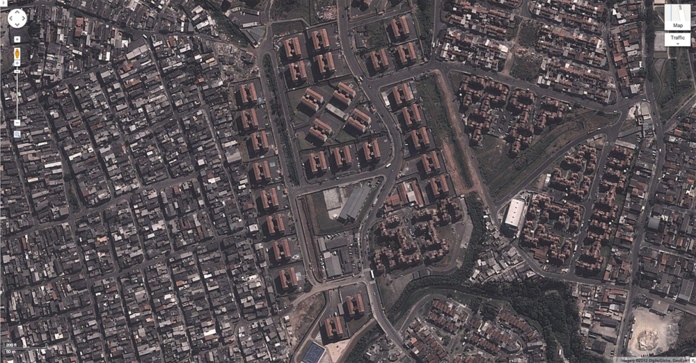 São Mateus social housing blocks seen from the air.