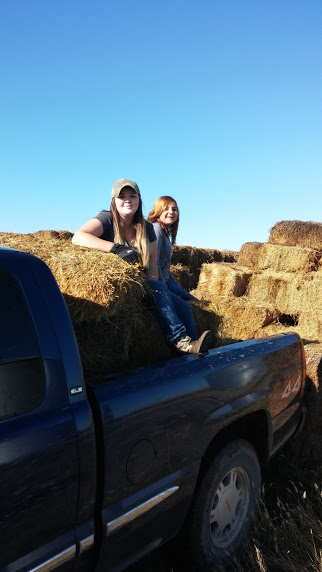 The back of the pickup was their favorite way to get around the farm during their stay. Or the 4-wheeler....