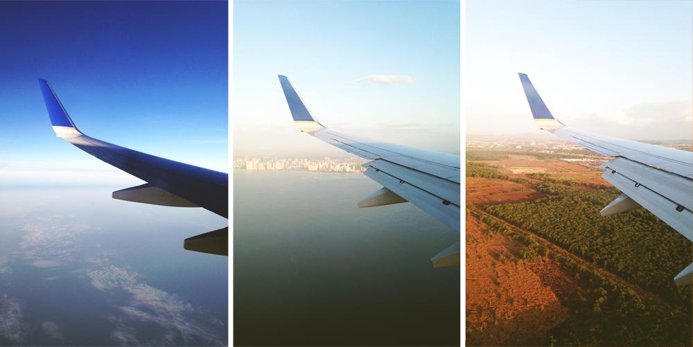 Três momentos que captei da janela do avião. Nessa viagem passamos por muitas paisagens lindas!