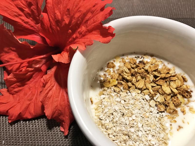 E para finalizar o iogurte caseiro com adição de granola. Delícia!