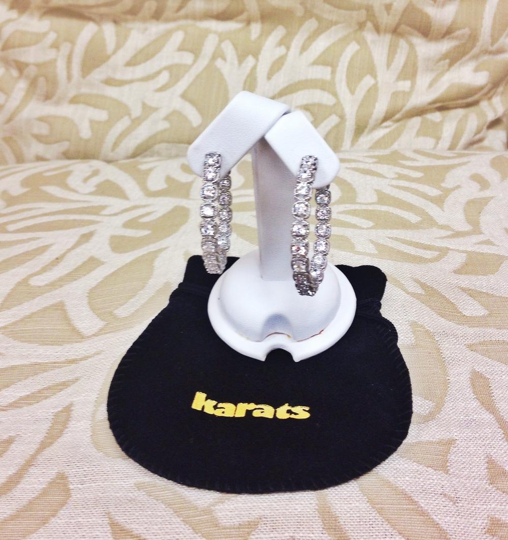 www.  karatsfinejewellery  .ca    Karats Fine Jewellery silver bangle earrings with Swarowski stones $300 value