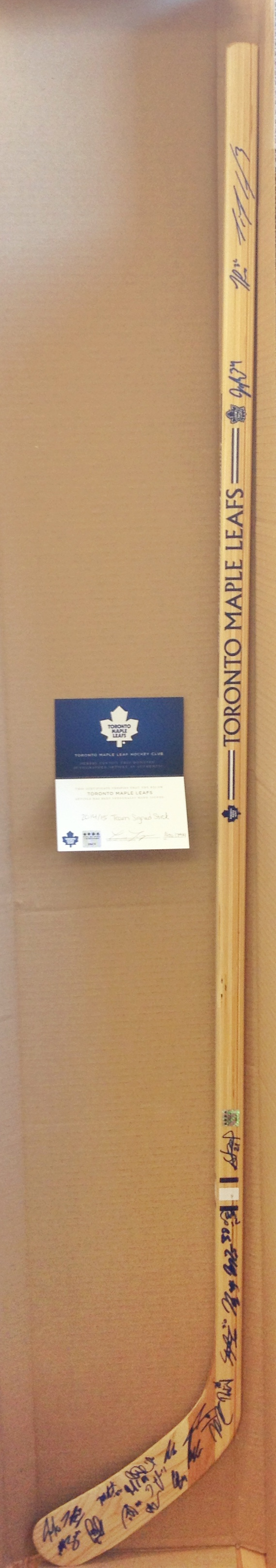 Limited Edition Signature Series hockey stick signed by the Toronto Maple Leafs 2014-15 Team